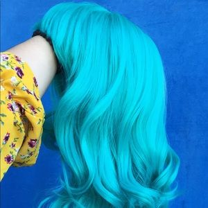 Teal/Turquoise Synthetic Cosplay & Casual Wig